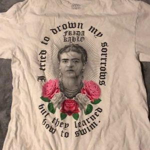 Other - White Graphic Tee, roses, Frida Kahlo